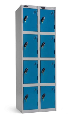 Trexus Plus 4 Door Locker Nest of 2 ACTIVECOAT W305xD305xH1780mm Silver Blue Ref