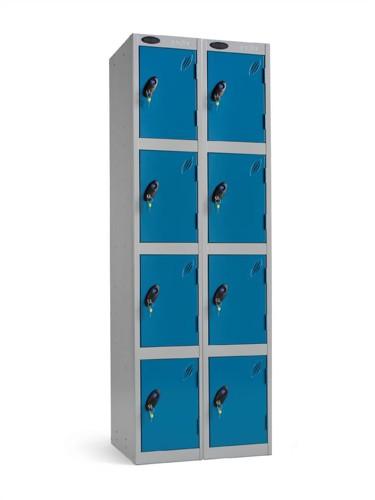 Trexus Plus 4 Door Locker Nest of 2 Extra Depth ACTIVECOAT W305xD460xH1780mm Silver Blue Ref