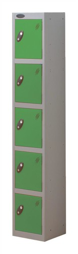 Trexus Plus 5 Door Locker Nest of 1 ACTIVECOAT W305xD305xH1780mm Silver Green Ref