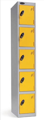 Trexus Plus 5 Door Locker Nest of 1 ACTIVECOAT W305xD305xH1780mm Silver Yellow Ref