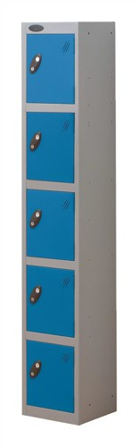 Trexus Plus 5 Door Locker Nest of 1 Extra Depth ACTIVECOAT W305xD460xH1780mm Silver Blue Ref