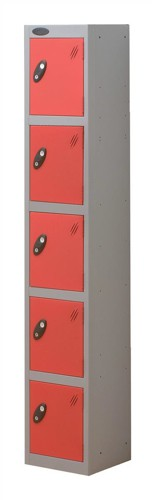 Trexus Plus 5 Door Locker Nest of 1 Extra Depth ACTIVECOAT W305xD460xH1780mm Silver Red Ref