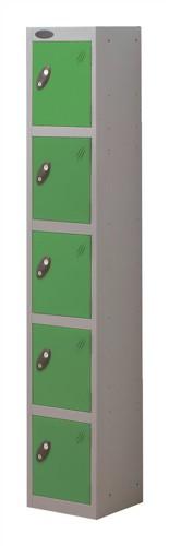 Trexus Plus 5 Door Locker Nest of 1 Extra Depth ACTIVECOAT W305xD460xH1780mm Silver Green Ref