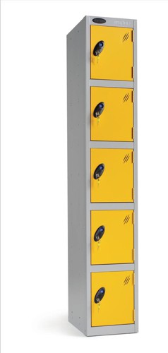 Trexus Plus 5 Door Locker Nest of 1 Extra Depth ACTIVECOAT W305xD460xH1780mm Silver Yellow Ref