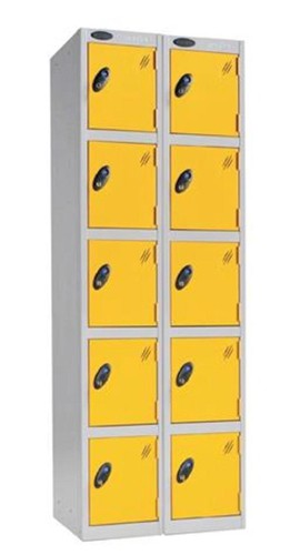 Trexus Plus 5 Door Locker Nest of 2 Extra Depth ACTIVECOAT W305xD460xH1780mm Silver Yellow Ref