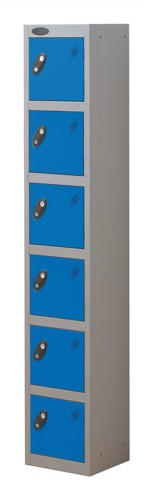 Trexus Plus 6 Door Locker Nest of 1 ACTIVECOAT W305xD305xH1780mm Silver Blue Ref