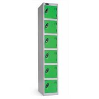 Image for Trexus Plus 6 Door Locker Nest of 1 ACTIVECOAT W305xD305xH1780mm Silver Green Ref