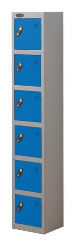 Trexus Plus 6 Door Locker Nest of 1 Extra Depth ACTIVECOAT W305xD460xH1780mm Silver Blue Ref