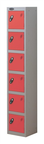 Trexus Plus 6 Door Locker Nest of 1 Extra Depth ACTIVECOAT W305xD460xH1780mm Silver Red Ref