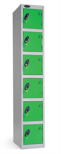Trexus Plus 6 Door Locker Nest of 1 Extra Depth ACTIVECOAT W305xD460xH1780mm Silver Green Ref