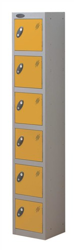 Trexus Plus 6 Door Locker Nest of 1 Extra Depth ACTIVECOAT W305xD460xH1780mm Silver Yellow Ref