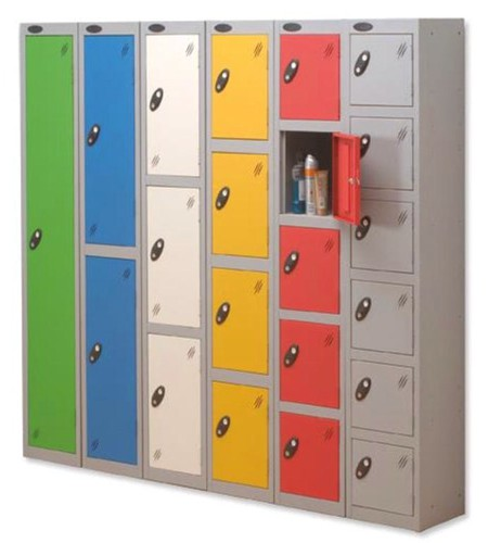 Trexus Plus 6 Door Locker Nest of 2 ACTIVECOAT W305xD305xH1780mm Silver Yellow Ref