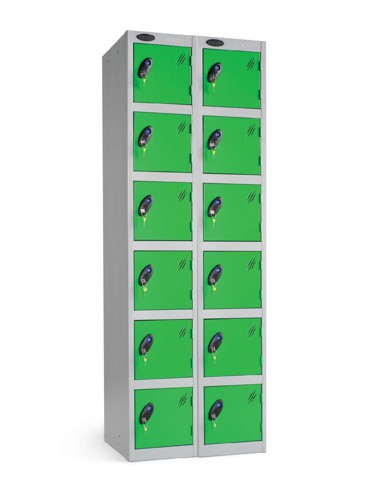 Trexus Plus 6 Door Locker Nest of 2 Extra Depth ACTIVECOAT W305xD460xH1780mm Silver Green Ref