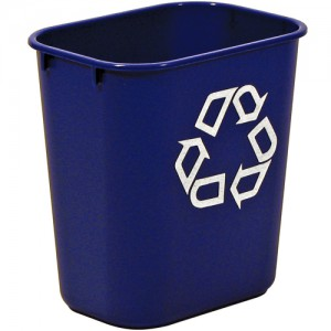 Rubbermaid Wastebasket Polyethylene Rectangular 26.6 Litres 365x260x380mm Blue Code 2956-73-BLU