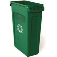 Rubbermaid Slim Jim Recycling Bin with Venting Channels W558xD279xH762mm 87 Litres Green Ref 3540-07
