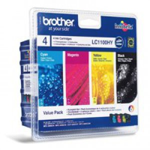 Brother Inkjet Cartridge Value Pack Page Life 1425pp Black/Cyan/Magenta/Yellow Ref LC1100VALBP [Pack 4]