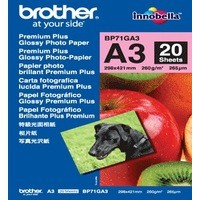 Brother Glossy Photo Paper A3 Pack of 20 Sheets BP71GA3