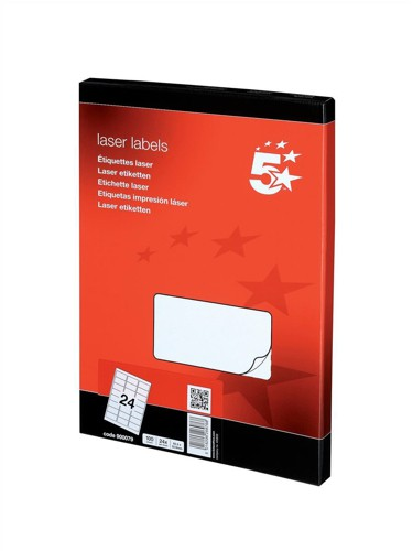5 Star Addressing Labels Laser 24 per Sheet 64x34mm White [2400 Labels]