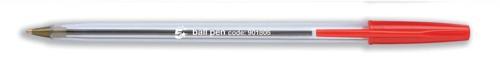 5 Star Clear Ball Pen Medium 1.0mm Tip 0.4mm Line Red [Pack 50]