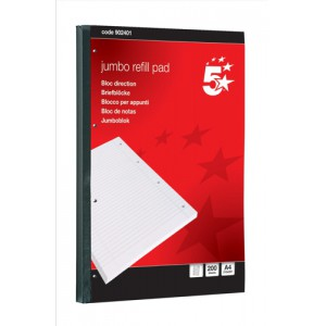 5 Star Jumbo Pad Feint Sidebound Ruled with Margin 60gsm 4-Hole Punched 200 Sheets A4 [Pack 4]
