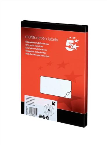 5 Star Labels Laser Copier and Inkjet 14 per Sheet 105x42mm [1400 Labels]