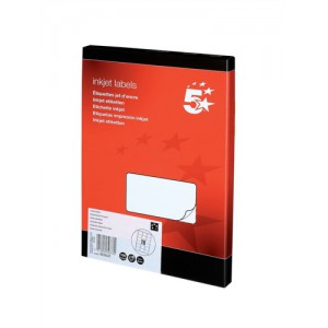 5 Star Addressing Labels Inkjet 18 per Sheet 63.5x46.6mm White [1800 Labels]