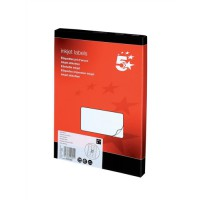 Image for 5 Star Addressing Labels Inkjet 21 per Sheet 63.5x38.1mm White [2100 Labels]