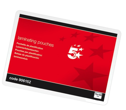 5 Star Laminating Pouches 250 Micron A7 for Insert 75x105mm Glossy [Pack 100]