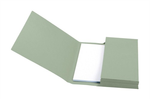 5 Star Document Wallet Full Flap 285gsm Capacity 32mm Foolscap Green [Pack 50]