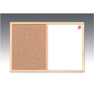 5 Star Combination Noticeboard Cork and Drywipe W900xH600mm