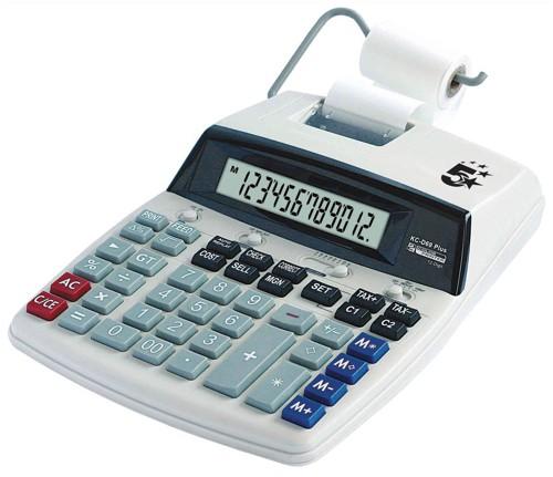 5 Star Calculator Desktop Printing VFD 12 Digit 2.7 Lines/sec 198x260x65mm Ref P12D