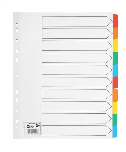 5 Star Maxi Index Extra-wide 230 micron Card with Coloured Mylar Tabs 10-Part A4 White
