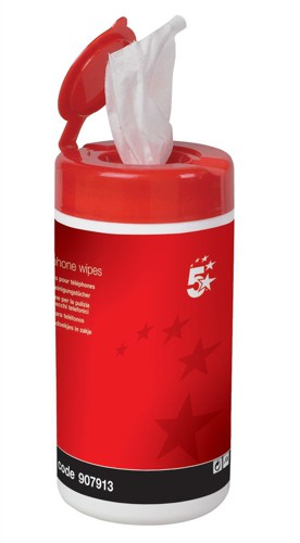 5 Star Cleaning Wipes for Telephone Bactericidal Non-hazardous in Tub [Pack 100]