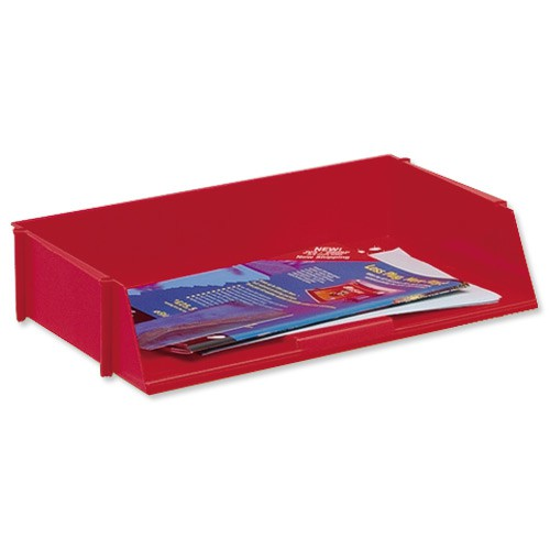5 Star Letter Tray Wide Entry High-impact Polystyrene Stackable Red