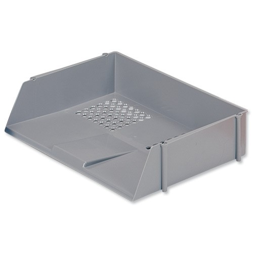 5 Star Letter Tray Wide Entry High-impact Polystyrene Stackable Grey