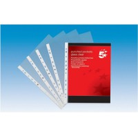 Image for 5 Star Punched Pocket Polypropylene Top-opening 80 Micron A4 Clear [Pack 100]