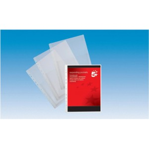 5 Star Expanding Punched Pocket PVC Top Flap 200 Micron A4 Clear [Pack 10]
