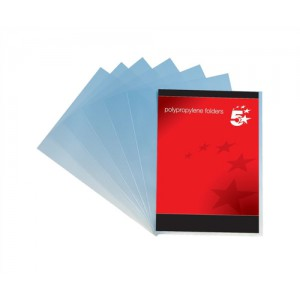 5 Star Folder Cut Flush Polypropylene Copy-safe Translucent A4 Frosted Clear Ref [Pack 100]