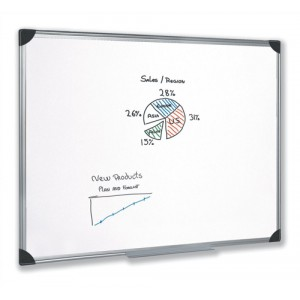 5 Star Whiteboard Drywipe Magnetic with Pen Tray and Aluminium Trim W1200xH900mm