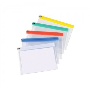 5 Star Zip Filing Bags PVC Clear Front with Coloured Seal A5 Assorted [Pack 30]
