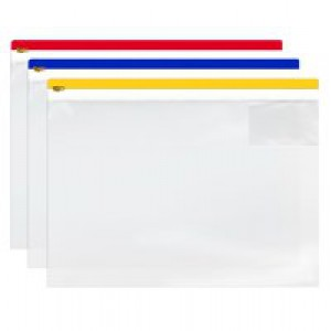 5 Star Zip Filing Bags PVC Clear Front with Coloured Seal A3 Assorted [Pack 5]
