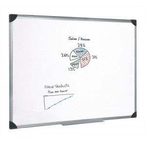 5 Star Whiteboard Drywipe Magnetic with Pen Tray and Aluminium Trim W1800xH1200mm