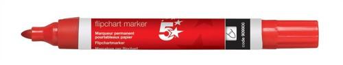 5 Star Flipchart Marker Pen Water-based Line Width 2.0mm Red [Pack 12]