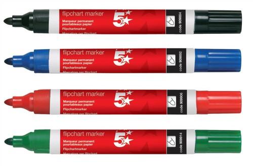 5 Star Flipchart Marker Pen Water-based Line Width 2.0mm Assorted [Pack 4]