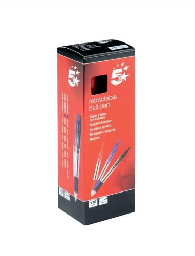 5 Star Ball Pen Retractable Medium 1.0mm Tip 0.4mm Line Red [Pack 10]