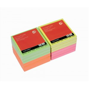 5 Star Re-Move Notes Repositionable Neon Pad of 100 Sheets 76x76mm Assorted [Pack 12]