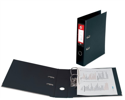 5 Star Lever Arch File PVC Spine 70mm Foolscap Black [Pack 10]