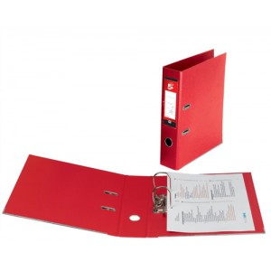 5 Star Lever Arch File PVC Spine 70mm Foolscap Red [Pack 10]