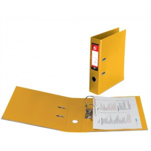 5 Star Lever Arch File PVC Spine 70mm Foolscap Yellow [Pack 10]