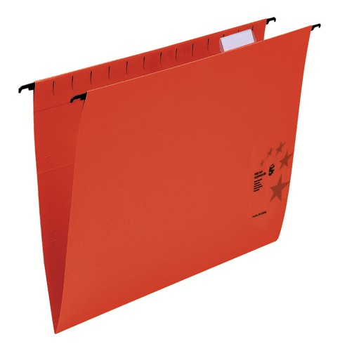 5 Star Suspension Files Manilla Wrapover Bar Tabs and Inserts Foolscap Red Ref 100331410 [Pack 50]